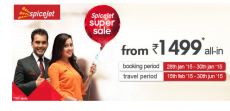 SpiceJet Super Sale is back – Domestic Flights @ Rs.1499