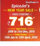 Spicejet New Year Sale : Spicejet Rs.716 Flights – 28th – 31st Dec 2015
