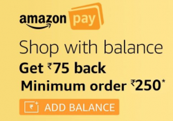 Amazon Rs. 75 Cashback on Purchase of Rs. 250
