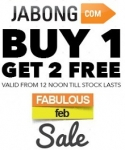Fabulous Feb Sale :  Clothing & Jewellery Buy 1 Get 2 Free + 5% off – Jabong