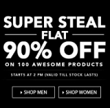 Flat 90% off on Jabong – Clothing, Footwear & Accessories